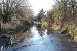 Road closed due to flood water in Compton