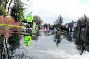 Flood waters in residential Berkshire